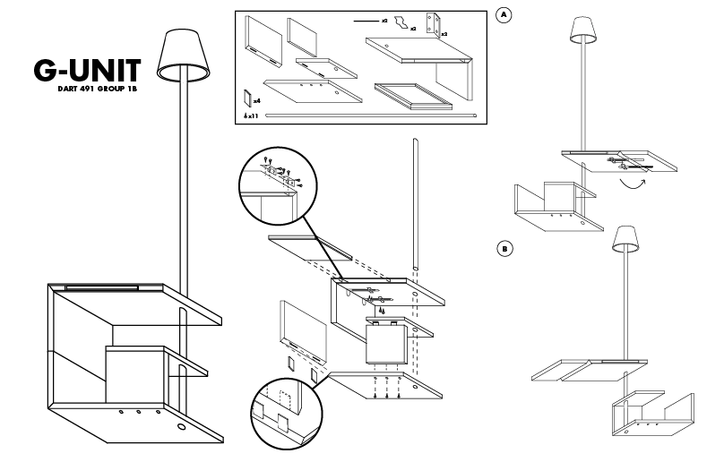 D Line Drawings Ikea : Furniture assembly manual dart b g unit