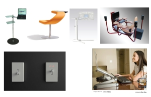Various laptop stands & time on switch light.